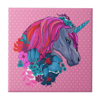 Cute Violet Magic Unicorn Fantasy Illustration Small Square Tile