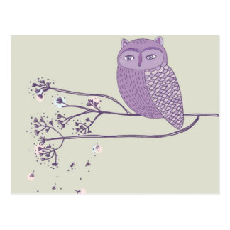 Cute violet owl on the tree branch postcard