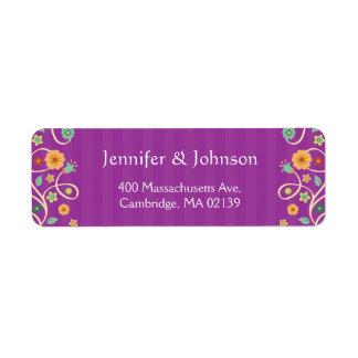 Cute Violet Purple Swirl Floral Stylish RSVP Return Address Label