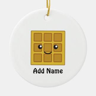 Cute Waffle Ceramic Ornament