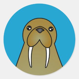 Cute Walrus Cartoon Round Sticker