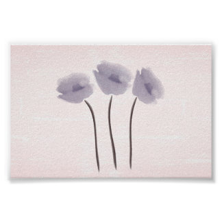 Cute Watercolor Anemones Collage Poster