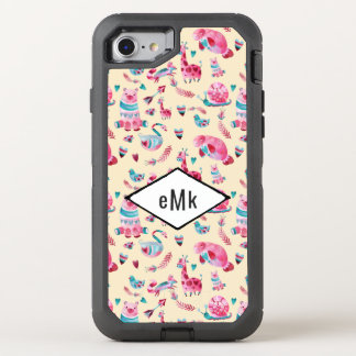 Cute Watercolor Animal Pattern with Monogram OtterBox Defender iPhone 8/7 Case