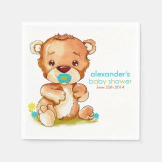 Cute Watercolor Baby Bear Boy Baby Shower Paper Napkin