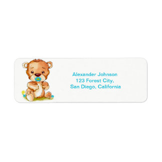 Cute Watercolor Baby Bear Boy Return Address Label