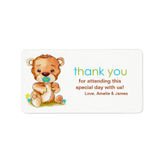 Cute Watercolor Baby Bear Boy Thank You Address Label