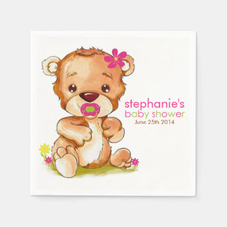 Cute Watercolor Baby Bear Girl Baby Shower Paper Napkins
