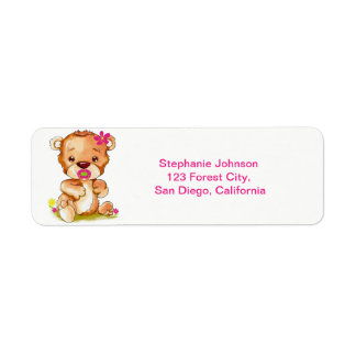 Cute Watercolor Baby Bear Girl Return Address Label