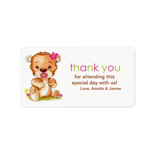 Cute Watercolor Baby Bear Girl Thank You Label