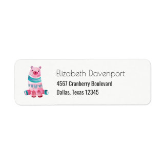 Cute Watercolor Bear in Pink and Green Return Address Label