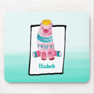 Cute Watercolor Bear on Aqua Green Ombre Backing Mouse Pad