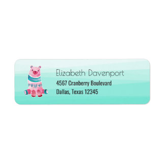 Cute Watercolor Bear on Aqua Green Ombre Backing Return Address Label