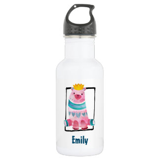 Cute Watercolor Bear Wearing a Crown 532 Ml Water Bottle