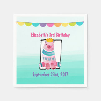 Cute Watercolor Bear Wearing a Crown Birthday Disposable Serviettes