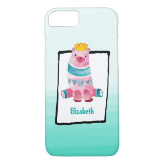 Cute Watercolor Bear Wearing a Crown Personalized iPhone 7 Case