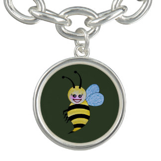 Cute Watercolor Bee With Happy Smile