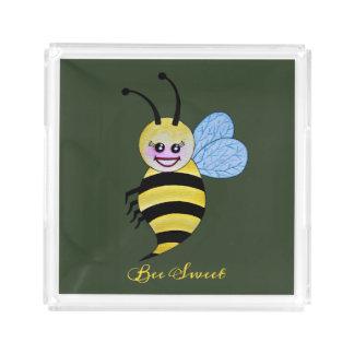 Cute Watercolor Bee With Happy Smile Acrylic Tray