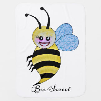 Cute Watercolor Bee With Happy Smile Baby Blanket