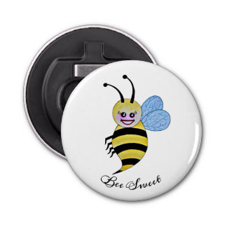 Cute Watercolor Bee With Happy Smile Bottle Opener