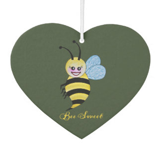 Cute Watercolor Bee With Happy Smile Car Air Freshener