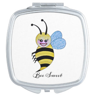 Cute Watercolor Bee With Happy Smile Compact Mirror