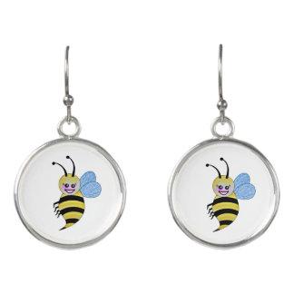 Cute Watercolor Bee With Happy Smile Earrings