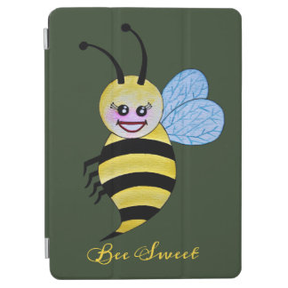 Cute Watercolor Bee With Happy Smile iPad Air Cover