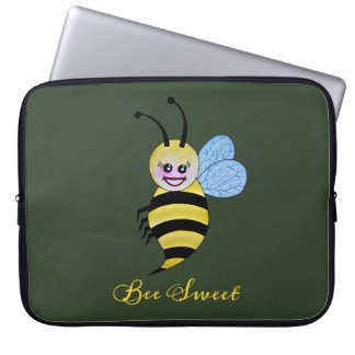 Cute Watercolor Bee With Happy Smile Laptop Sleeve