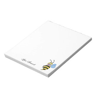 Cute Watercolor Bee With Happy Smile Notepad