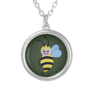 Cute Watercolor Bee With Happy Smile Silver Plated Necklace