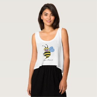 Cute Watercolor Bee With Happy Smile Singlet
