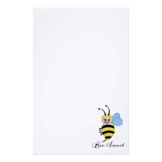 Cute Watercolor Bee With Happy Smile Stationery