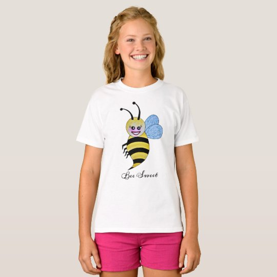 Cute Watercolor Bee With Happy Smile T-Shirt