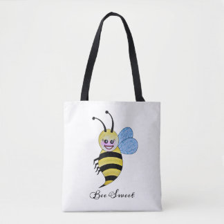 Cute Watercolor Bee With Happy Smile Tote Bag