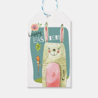 Cute watercolor bunny holding carrot Happy Easter