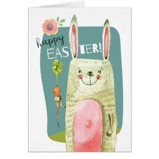Cute watercolor bunny holding carrot Happy Easter Card