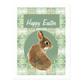 Cute Watercolor Bunny Rabbit Soft Pastel Color Postcard