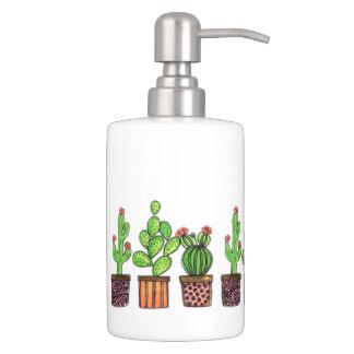 Cute Watercolor Cactus In Pots Bathroom Set
