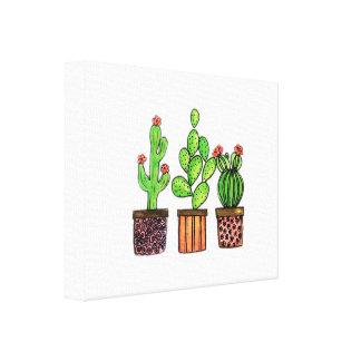 Cute Watercolor Cactus In Pots Canvas Print