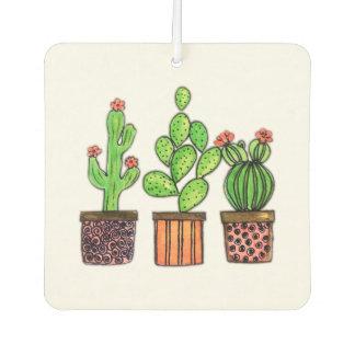 Cute Watercolor Cactus In Pots Car Air Freshener