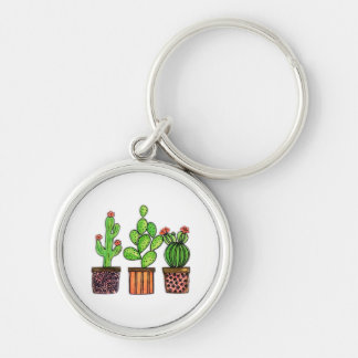 Cute Watercolor Cactus In Pots Key Ring