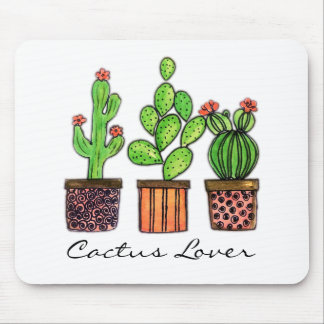 Cute Watercolor Cactus In Pots Mouse Pad