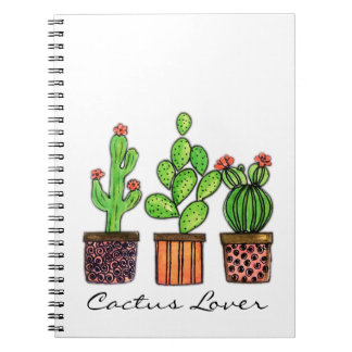 Cute Watercolor Cactus In Pots Notebooks