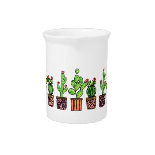 Cute Watercolor Cactus In Pots Pitcher