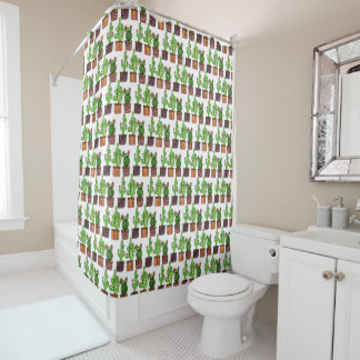 Cute Watercolor Cactus In Pots Shower Curtain