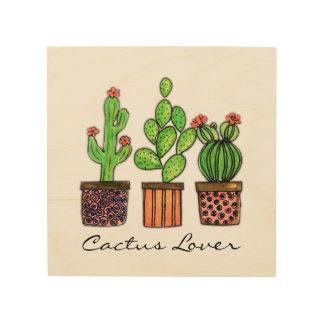 Cute Watercolor Cactus In Pots Wood Wall Art