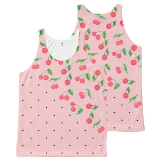 cute watercolor cherry black polka dots pattern All-Over print singlet