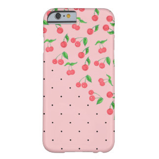 cute watercolor cherry black polka dots pattern barely there iPhone 6 case