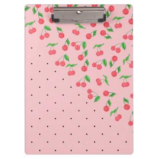 cute watercolor cherry black polka dots pattern clipboard