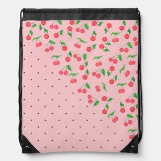 cute watercolor cherry black polka dots pattern drawstring bag